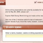 Disney World Online Dining Reservation Info