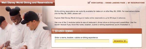 Disney Online Dining Reservations System