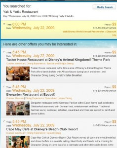 Screen Shot of Online Advanced Dining Reservations System