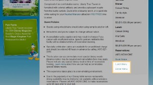 Location of Menus on Disney World Website Restaurant Pages
