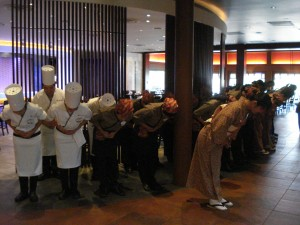 Staff Greeting Ceremony as Restaurant Opens