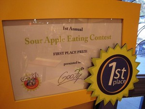 Sour Apple Eating Contest: First Place!