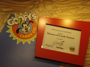 Goofy's Candy Expert Credentials (Note the cool hidden Mickey in the woodgrain above!)