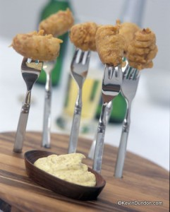 Battered Sausages with Mustard Mayonnaise