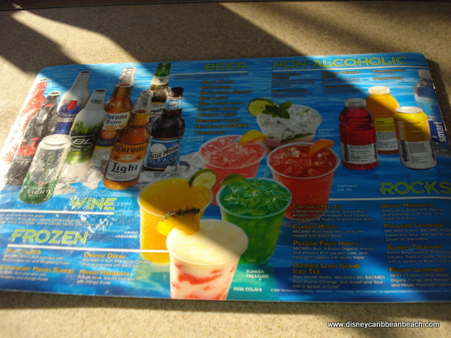 Disney World Drink Menu