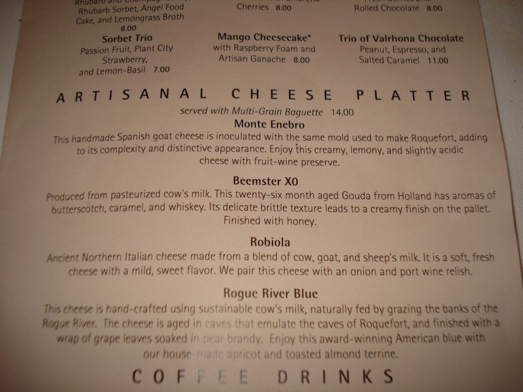 Cheese Plate Descriptions