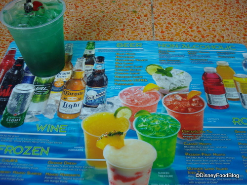 Disney Pool Bar Drink Menu