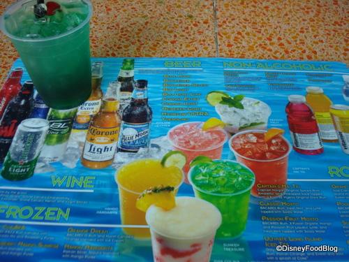 Disney Pool Bar Drink Menu