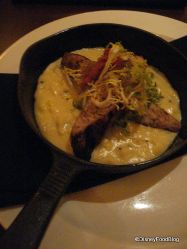 Le Cellier Spicy Chicken and Chipotle Sausage with Roasted Corn Polenta