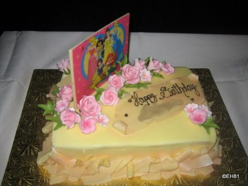 Chef Mickey's Birthday Cake -- name is blurred as it was for a celebrity