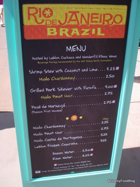 Rio de Janier Menu Food and Wine Festival