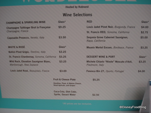 Wonders Bar Menu
