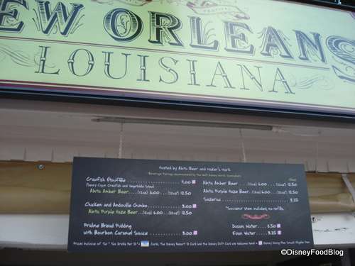 New Orleans Booth and Menu