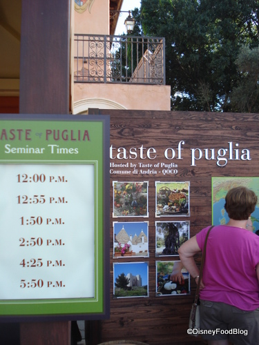 Seminar Times for Taste of Puglia