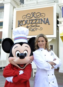 Cat Cora and Mickey Mouse at Kouzzina