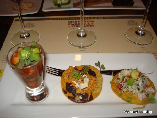 Shrimp Cocktail, Chicken Tostada, and Crab Tostada with corresponding Tequilas