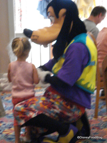 Goofy Visits With a Little Guest