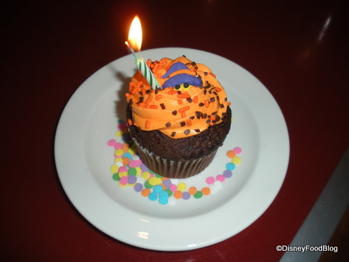 Halloween-themed Celebration Cupcake at Chef Mickey's