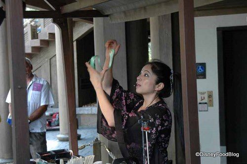 Miyuki mixes edible food coloring into the rice candy