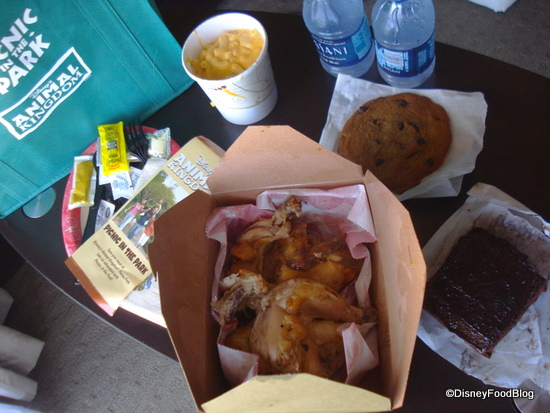 AK Picnic in the Park Meal -- Rotisserie chicken, mac and cheese side, brownie, cookie, water