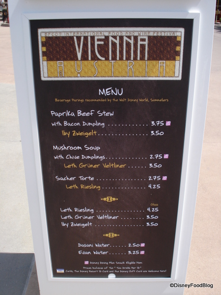 Austria booth menu