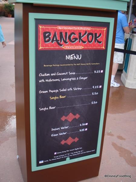 Bangkok, Thailand Booth Menu