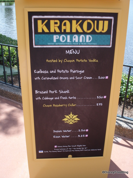 Krakow, Poland Menu
