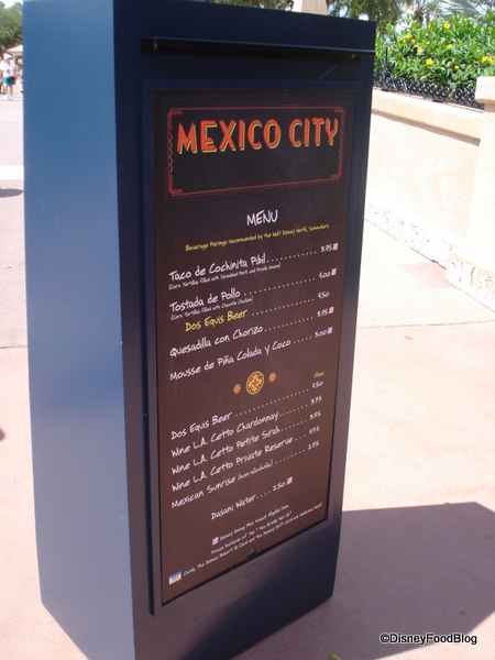Mexico City Menu