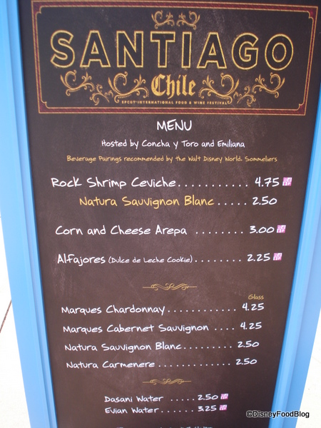 Santiago, Chile Booth Menu