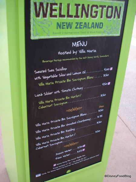 Wellington, New Zealand Menu