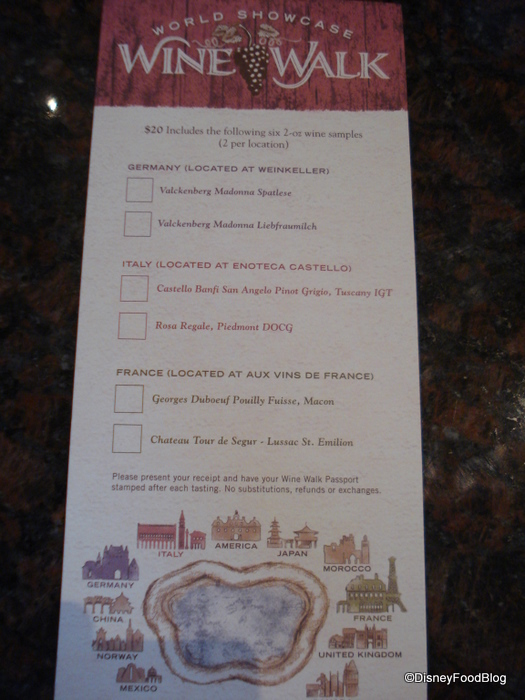 Epcot Wine Walk Passport Side 1