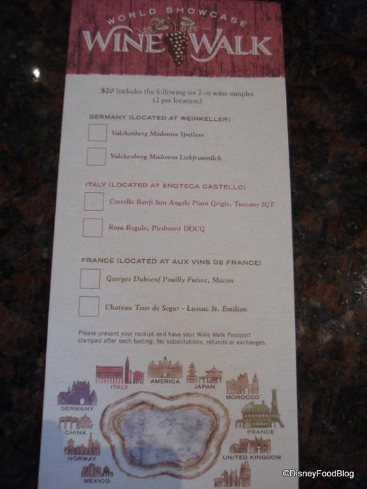 Epcot Wine Walk Passport Side 1