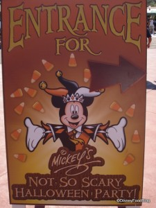 Mickey's Not So Scary Halloween Party entrance sign