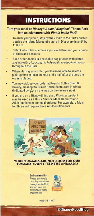 Picnic in the Park Instructions