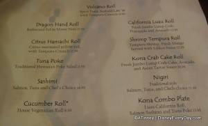 Kona Sushi Bar Menu
