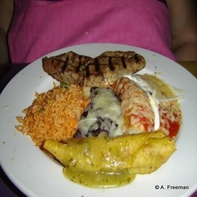 Combination Plato -- Enchilada, Burrito, Steak