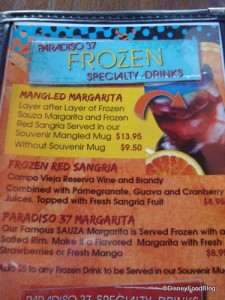Paradiso 37 Partial Margarita Menu