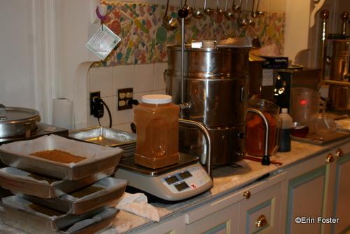 Weighing the Cinnamon for Pumpkin Fudge