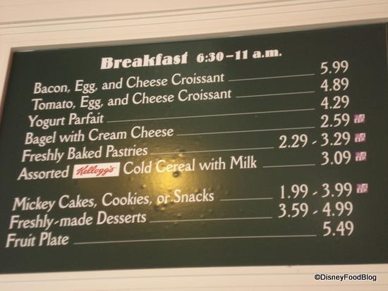 Boardwalk Bakery Breakfast Menu