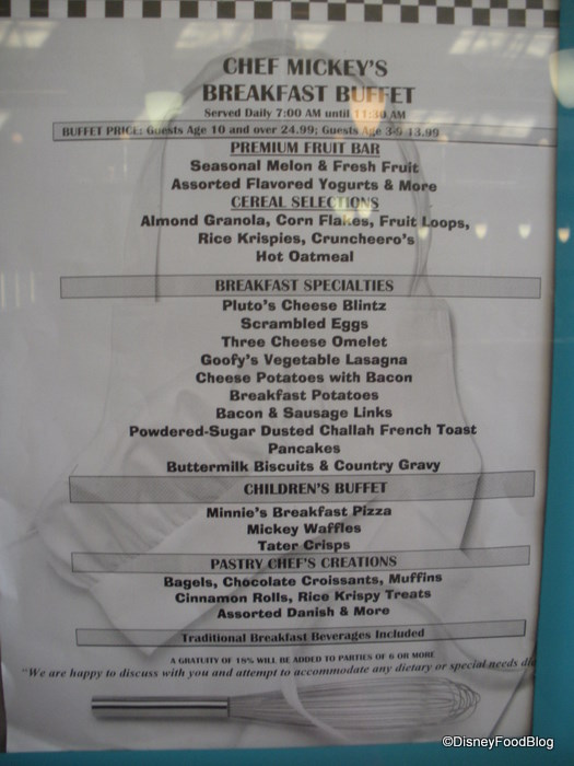Chef Mickey's Breakfast Menu
