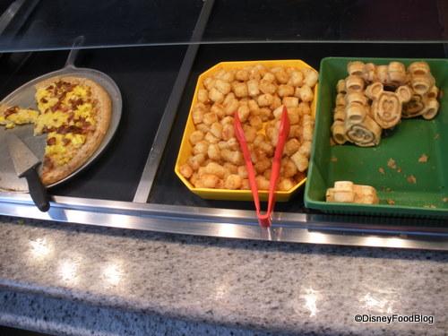 Breakfast Pizza, Tots, Mickey Waffles