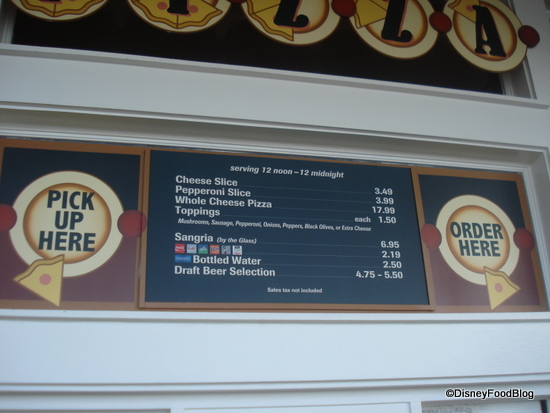 Boardwalk Pizza Window Menu