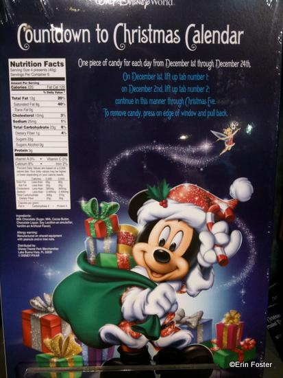 Disney Chocolate Advent Calendar Back
