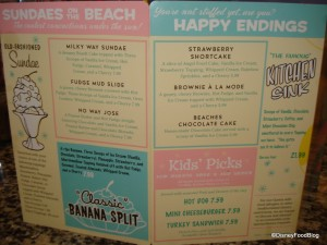 Beaches and Cream Menu Side 2