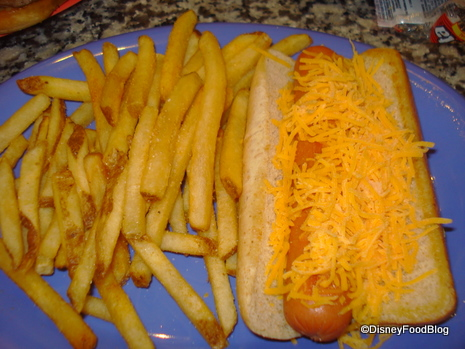 Hot Dog with cheese and Fries