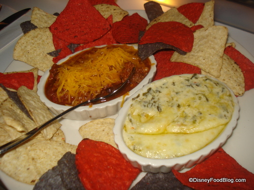 Chili and Artichoke Spinach Dip Platter Appetizer