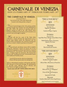 Click for Larger Image: Carnevale Menu and Info at Tutto Italia