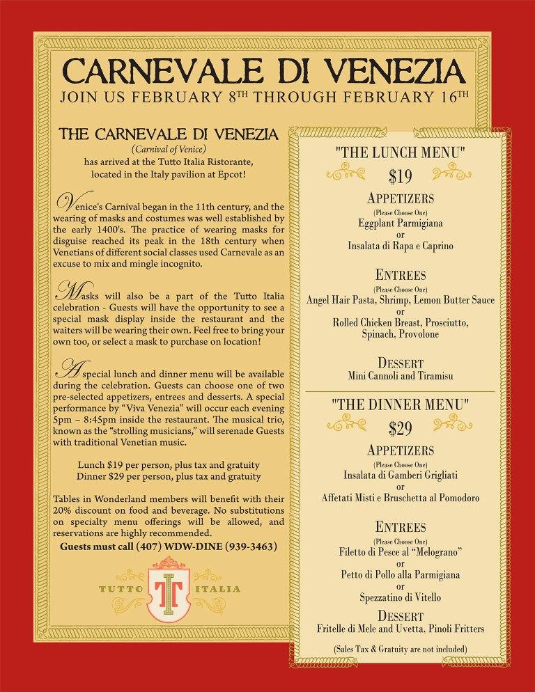 Carnevale Menu and Info at Tutto Italia