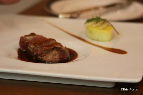 Vermont squab with root vegetable flan and pomegranate jus