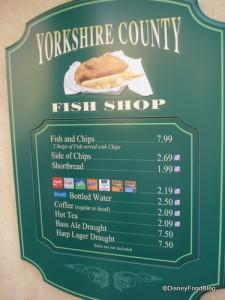 Fish Shop Menu
